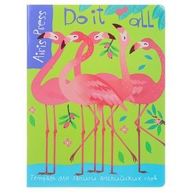 Тетрадь для записи английских слов «Фламинго», 32 листа, обложка мелованный картон, глянцевая ламинация