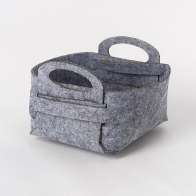Корзина текстильная для хранения, серая 12х7 см