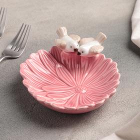 Блюдо «Голубки на цветке», 16×14×5 см, цвет розовый