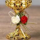 "Подсвечник пластик, стекло на 1 свечу ""Розочки"" бокал на ножке золото 13х6х6 см - Фото 4"