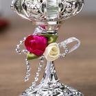 """Подсвечник пластик, стекло на 1 свечу """"Розочки"""" бокал на ножке серебро 13х6х6 см - Фото 5"""