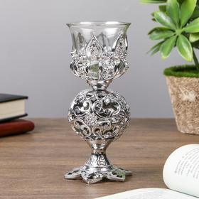 """Подсвечник пластик, стекло на 1 свечу """"Ажурный шар"""" бокал на ножке серебро 15х6х6 см"""