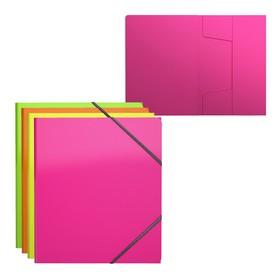 Папка на резинке А5+, 30 мм, 400 мкм, Erich Krause Glance Neon, текстура поверхности 'диагональ', вмещает до 300 листов, микс Ош