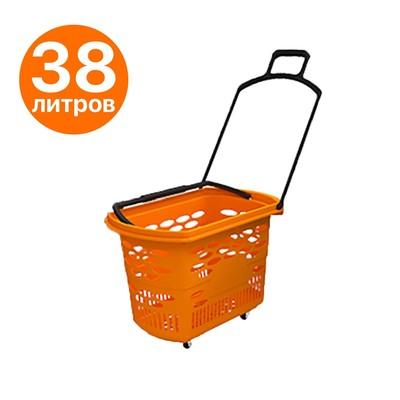 Корзина-тележка на 4 колесах пластиковая, 38 л, с 2 пластиковыми ручками, цвет оранжевый