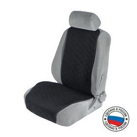 Накидка на переднее сиденье, велюр, размер 55 х 130 см, черный, широкое сиденье Ош