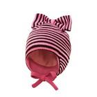 Шапка вязаная детская, цвет розовый/черный, размер 40-42