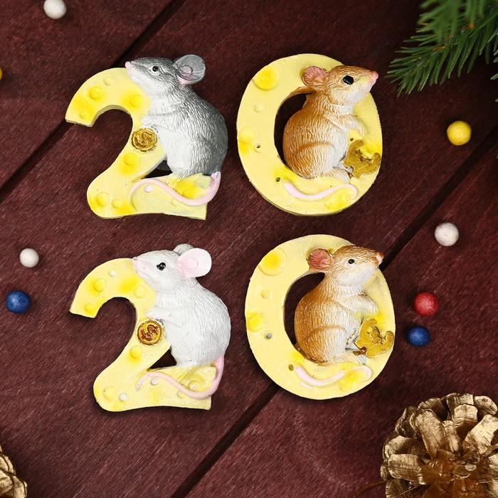 Магнит полистоун Год Крысы 2020 МИКС 5х4,5х1,5 см