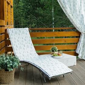 Подушка на шезлонг «Этель» Листья 55×190+2 см, репс с пропиткой ВМГО, 100% хлопок Ош