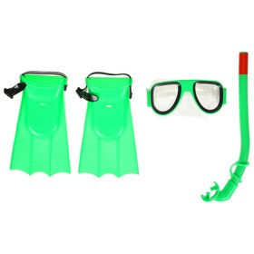 Набор для плавания детский, маска, ласты, трубка, цвета МИКС Ош