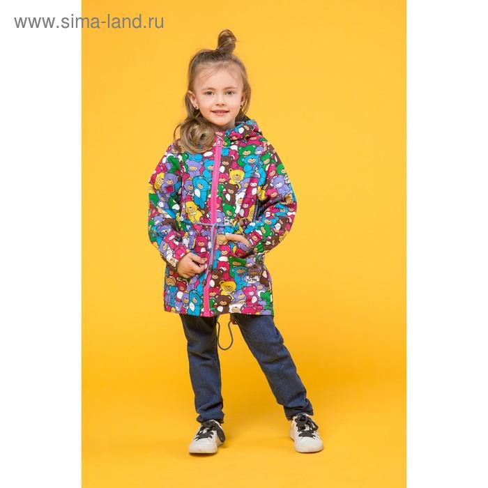 Куртка-парка для девочки, рост 116 см, принт мишки