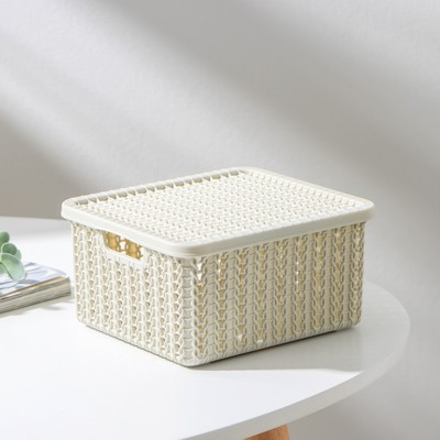 Коробка для хранения с крышкой IDEA «Вязание», 1,5 л, 17×15×8 см, цвет белый ротанг