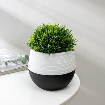 Кашпо «Дуэт», 500 мл, цвет чёрно-белый - Фото 1