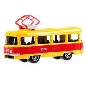 Трамвай металлический, масштаб 1:72, 7 см, в дисплее