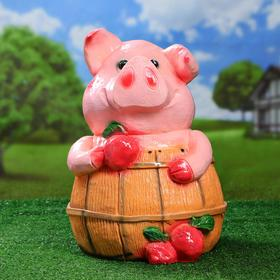 Садовая фигура 'Поросенок банщик' розовый 32х42см Ош