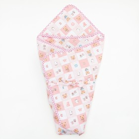 Конверт для новорожденного 'Мишка', теплый, на завяках, цвет розовый Ош