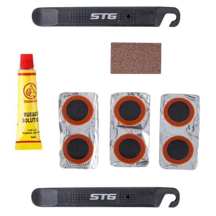 Аптечка для ремонта вело камер STG YC129A, монтажки+заплатки+клей