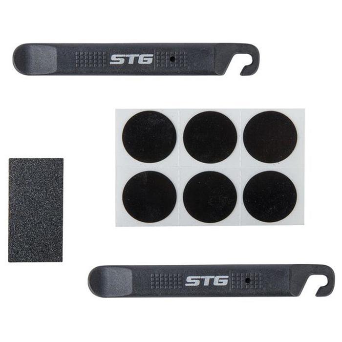 Аптечка для ремонта вело камер STG YC129B, монтажки + самоклеящиеся заплатки