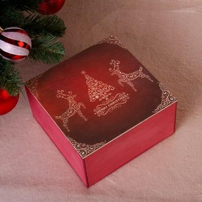 """Коробка подарочная """"Merry Christmas, c оленями"""", бордовая, 20×20×10 см - Фото 1"""
