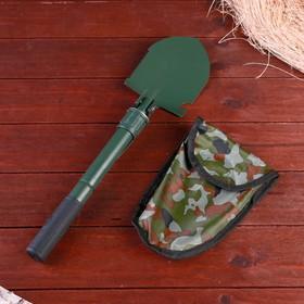 Лопата складная с прорезиненной рукоятью, с компасом,  39 см, оливковая, в чехле хаки Ош