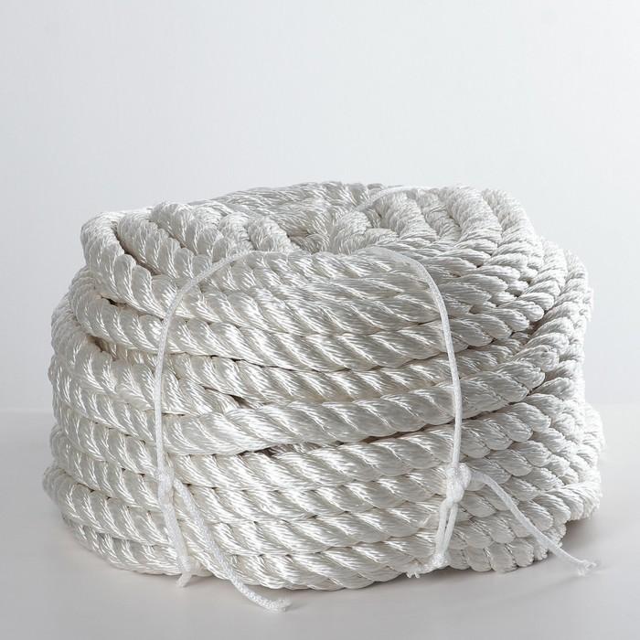 Канат кручёный ПАТ, d=20 мм, 50 м, цвет белый