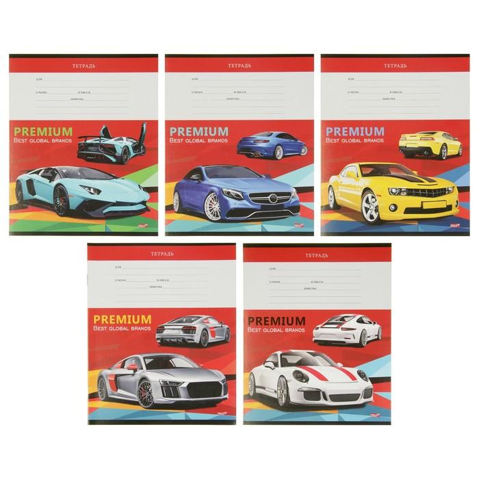 Тетрадь 12 листов клетка «Гоночные машины на красном», обложка мелованная бумага, МИКС