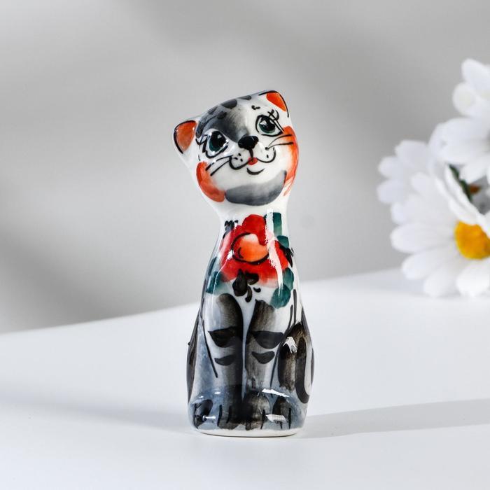 Сувенир Кошка Милашка, 9 см, серая гжель