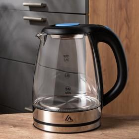 Чайник электрический LuazON LSK-1810, стекло, 1.8 л, 1500 Вт, подсветка, серебристый