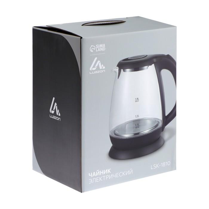 Чайник электрический LuazON LSK-1810, 1500 Вт, 1.8 л, стекло, подсветка, серебристый