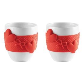 Набор из 2 чашек для кофе Love, красный