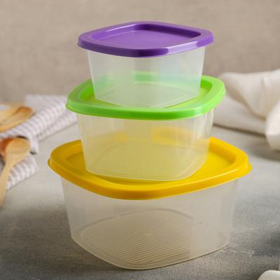 Набор контейнеров квадратных BioFresh, 3 шт: 0,23 л; 0,5 л; 0,9 л, цвет МИКС - Фото 1