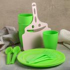Набор для посуды, 18 предметов: контейнер 5 л, стакан 250 мл 4 шт, ложка 4 шт, вилка 4 шт, веер