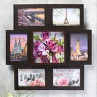 """Часы-фоторамка """"Букет из роз и орхидей"""" на 6 фото 10х15 см"""