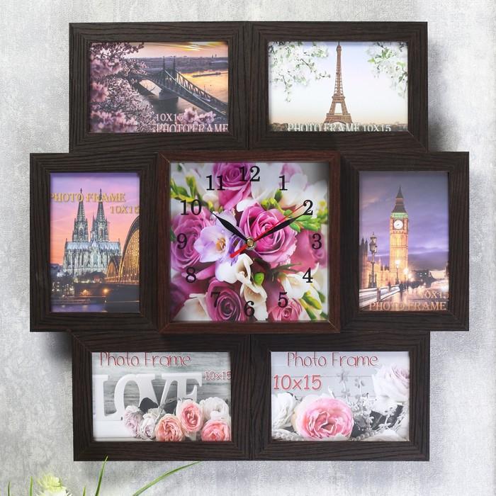 Часы-фоторамка Букет из роз и орхидей на 6 фото 10х15 см