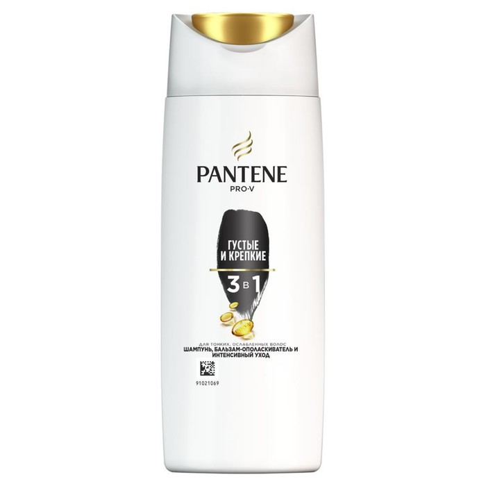 Шампунь для волос Pantene 3 в 1 «Густые и крепкие», для тонких и ослабленных волос, 90 мл
