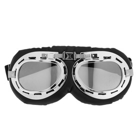 Очки для езды на мототехнике ретро Torso, стекло хром, черные Ош
