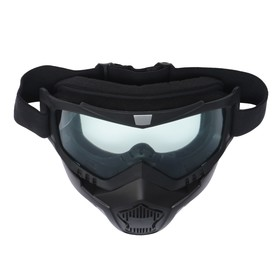Очки-маска для езды на мототехнике Torso, разборные, стекло прозрачное, черные Ош