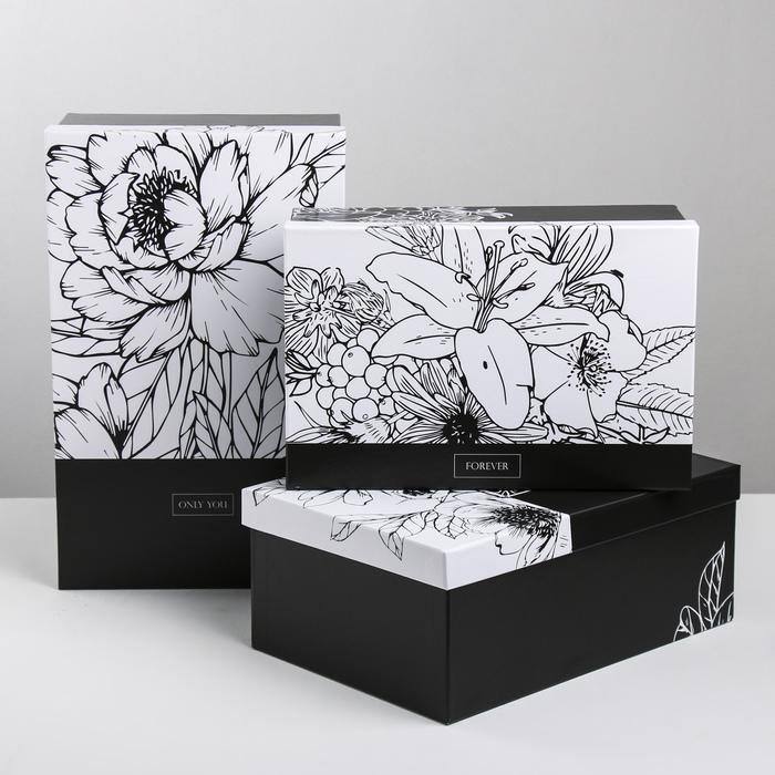 Набор подарочных коробок 3 в 1 «Чёрно-белый», 24.5 × 14.5 × 8 - 29.5 × 19.5 × 10 см