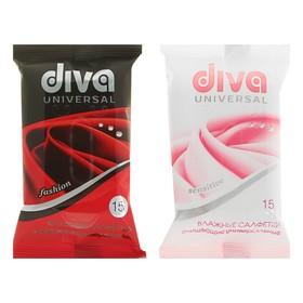 Влажные салфетки Diva Mini, универсальные, очищающие, 15 шт.