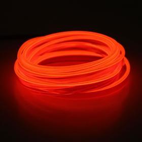 Неоновая нить Cartage для подсветки салона, плоская, 12 В, 5 м, с адаптером питания, красный Ош