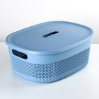 Корзина для хранения с крышкой 6 л Oslo, цвет туманно-голубой