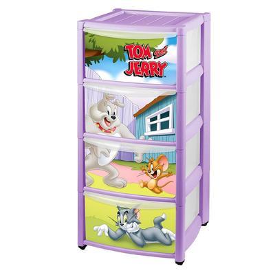 Комод детский на колёсах с аппликацией «Том и Джерри», 4 ящика, цвет сиреневый