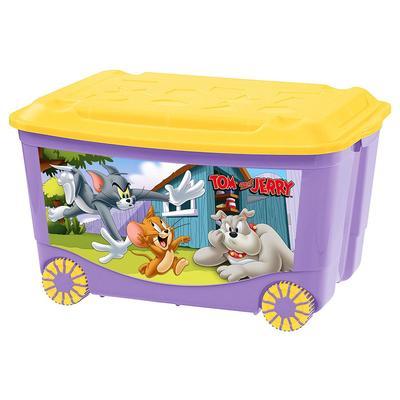 Ящик для игрушек на колёсах с аппликацией «Том и Джерри», цвет сиреневый