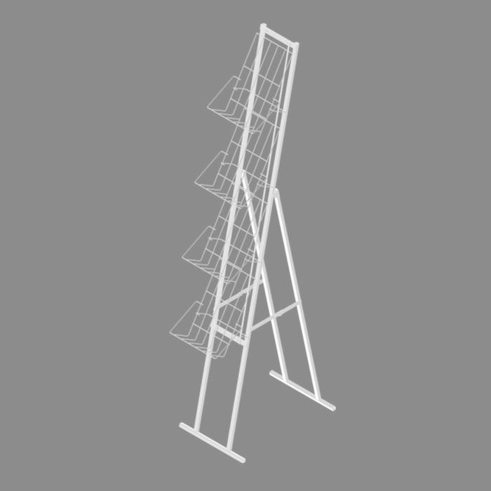 Буклетница складная с дисплеем 4 полки А4, цвет белый