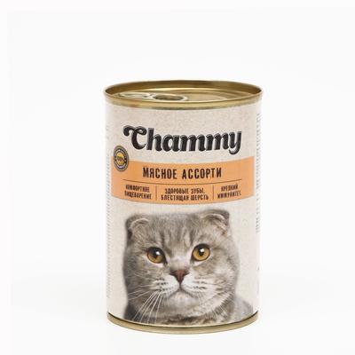 Влажный корм Chammy для кошек, мясное ассорти в соусе, ж/б, 415 г - Фото 1