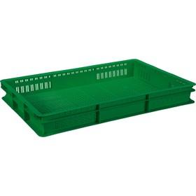 Ящик универсальный, перфорированный 600x400x75 зеленый