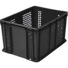 Ящик универсальный, перфорированный, дно сплошное 400х300х230 черный