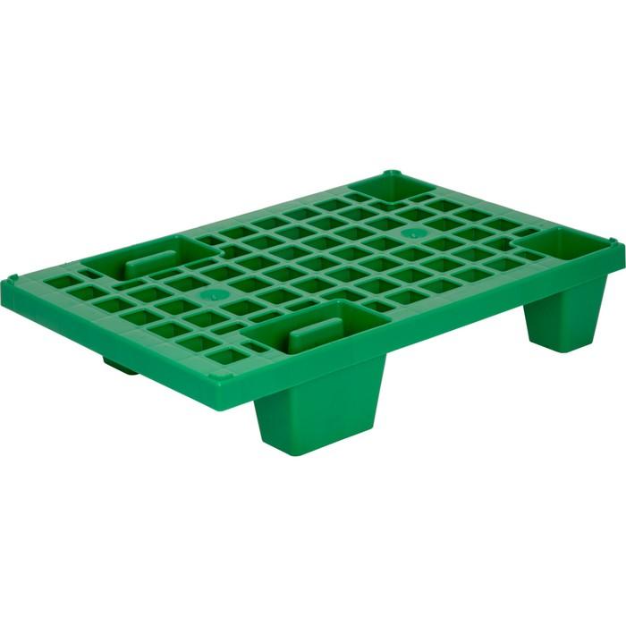 Паллет перфорированный на ножках 600х400х130 зеленый