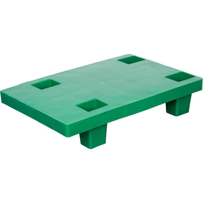 Паллет сплошной на ножках 600х400х130 зеленый
