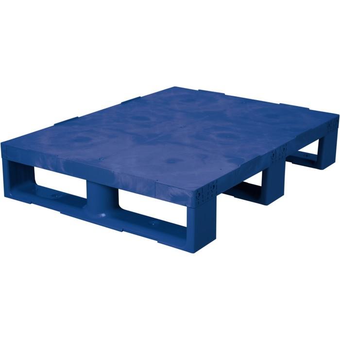 Паллет сплошной на 3-x полозьях 800х600х150 синий