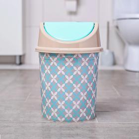 Ведро для мусора Виолет «Сканди», 8 л, с подвижной крышкой, с декором